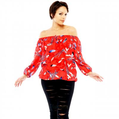 Damen Bluse Carmen Shirt Chiffon Oberteil Off Shoulder Feder-Print
