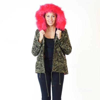 Damen Camouflage JACKE PARKA MILITÄR ÜBERGANGSJACKE Kapuze Nieten ARMY MANTEL Pink