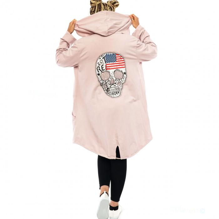 Women Cardigan Coat Sweat Jacket Hood Vintage Parka Studded Skull Rhinestone