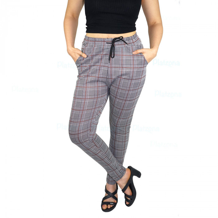Ladies business trousers finely checked  pattern cords lace Grey-Balck with Brown