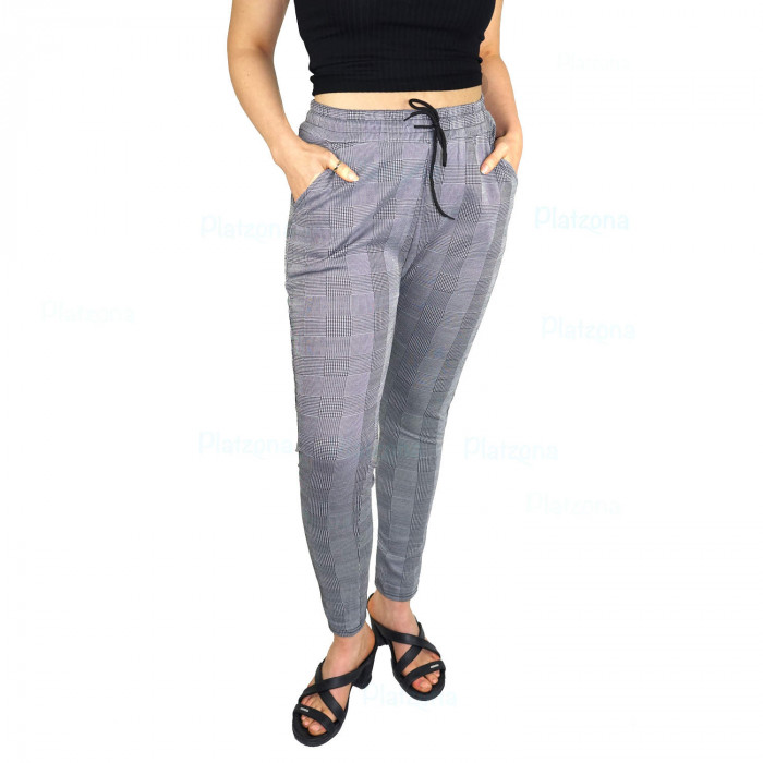 Ladies business trousers finely checked  pattern cords lace  Gray-black fine Kariet