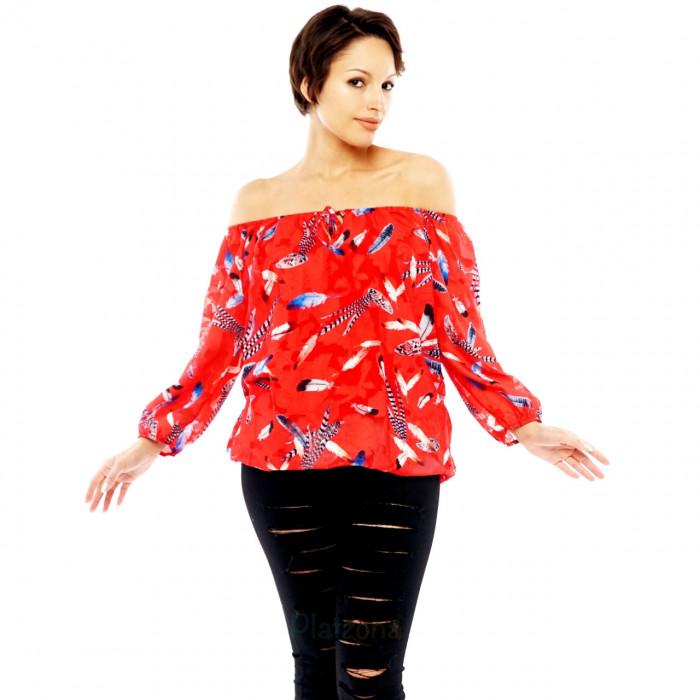 Blouse Carmen Shirt Chiffon Top Off Shoulder Feather-Print
