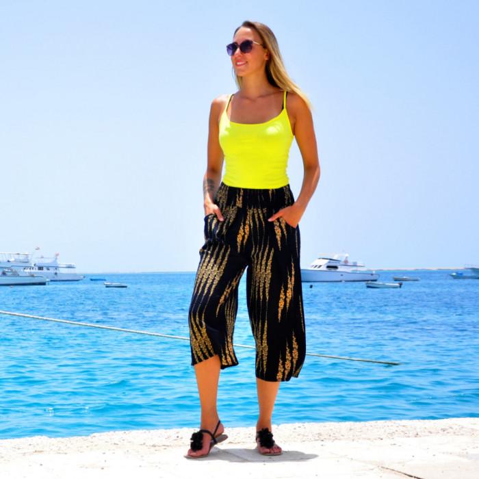 Women's Loose Wide Leg Pant Elastic Waist 3/4 Summer Trousers