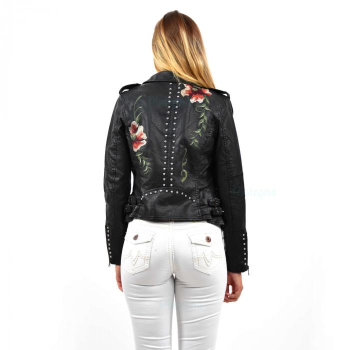 Ladies foxLeather Jacket Transition Jacket LeatherLook Flower Studs