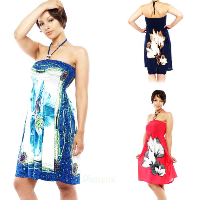 Bandeau beach cloth boho evening dress in set 3 pcs.
