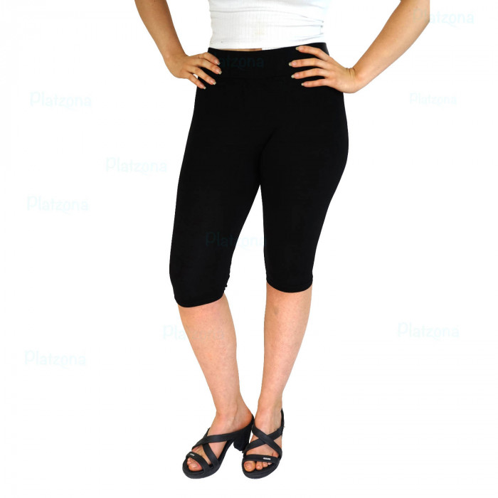 Basic Half Length Leggings Plain Black Leisure Beach One Size SML
