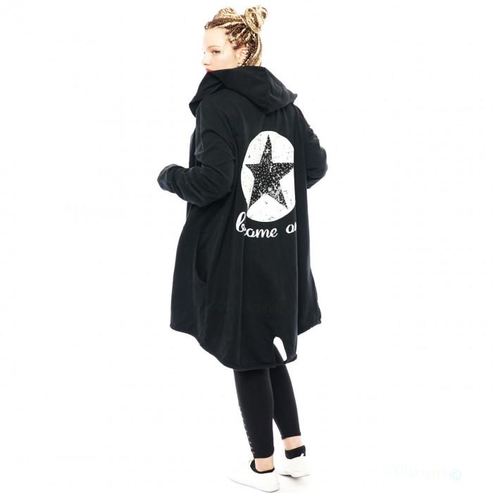 Women Cardigan Coat Sweat Jacket Hood Vintage Parka Studded Star Rhinestone