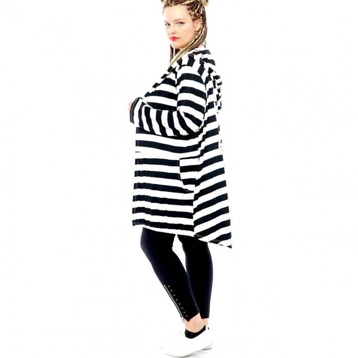 Women Cardigan Coat Sweat Jacket Hood Vintage Parka Studded Star Rhinestone Stripes