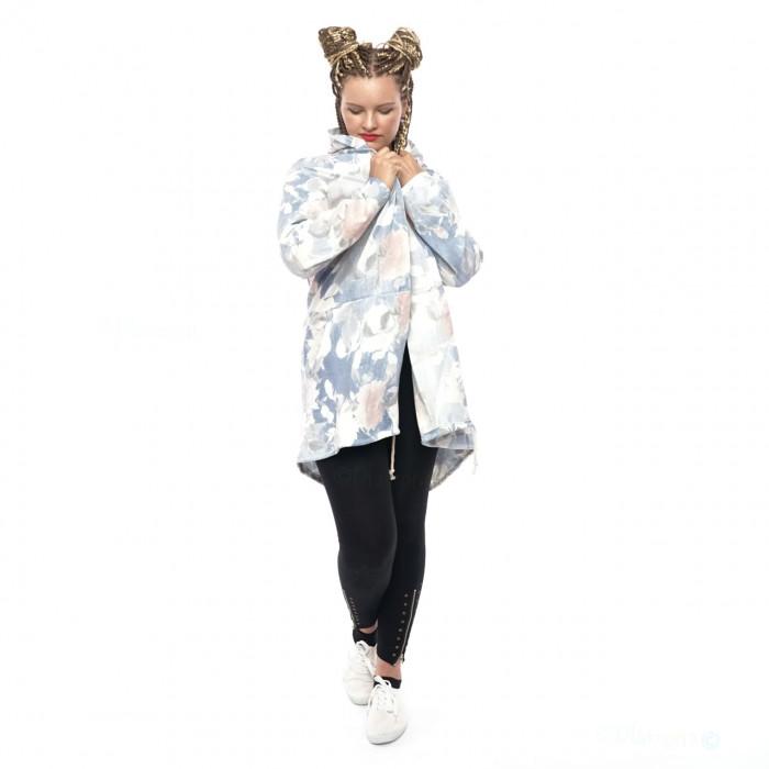 Women Cardigan Coat Sweat Jacket Hood Vintage Parka Studded Star Rhinestone Floral pattern