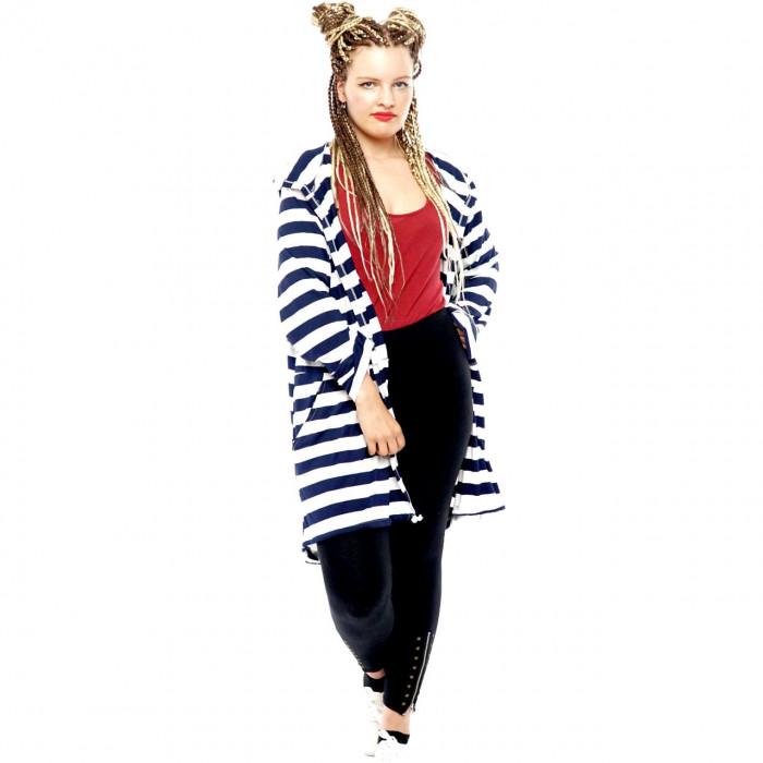 Cardigan Women Coat Sweat Jacket Hood Vintage Parka Studded Star Rhinestone Stripes