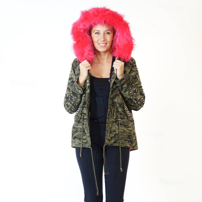 Women's Camouflage JACKET PARKA MILITARY TRANSITION JACKET Hooded Rivets ARMY COAT Pink
