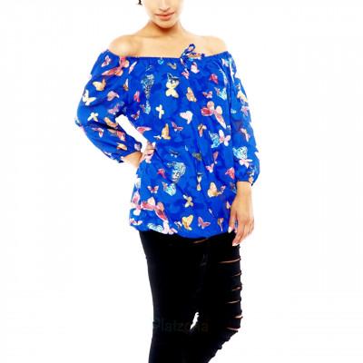 Damen Bluse Carmen Shirt Chiffon Oberteil Off Shoulder Schmetterling Muster