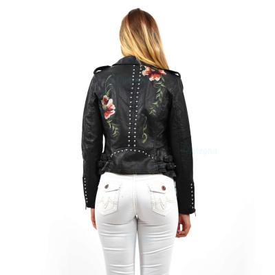 Damen Lederoptik Blumen Nieten Jacke Übergangsjacke