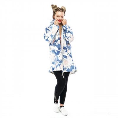 Damen Cardigan Mantel Sweat Jacke Kapuze Vintage Parka Nieten Stern Strass Blumenmuster