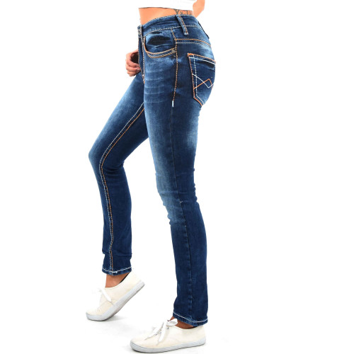 Damen High Waist Jeans Hose Gerades Bein Damenjeans Dicke Naht Stretch Orange
