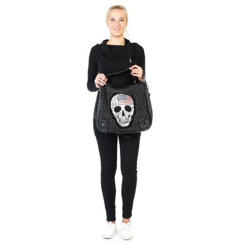 Lässige Totenkopf Handtasche Damen Tasche Gothic Schultertasche Punk Skull Bone