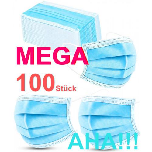 Maske Mund-Nasen-Bedeckung Mundschutz Maske 3-lagig Hygienemaske Schutz Einweg Gummiband 100 Stück MEGA