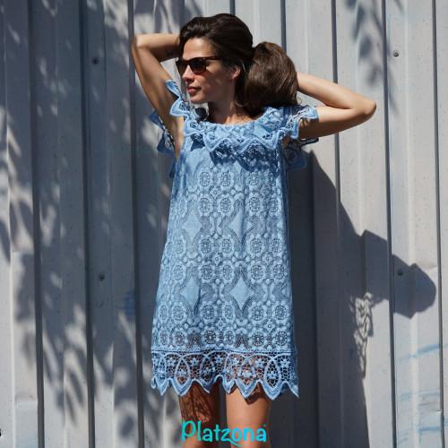 Sommerkleid, Strandkleid Schulterfrei Einheitsgröße Rüschen Kleid