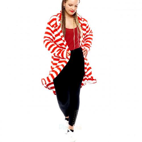 Damen Cardigan Mantel Sweat Jacke Kapuze Vintage Parka Nieten Stern Strass Streifen