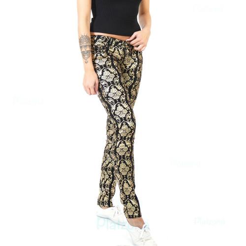 Damen Jeans Hose Goldoptik Silberoptik Royal