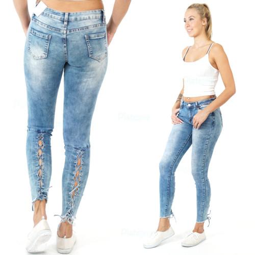 Damen Jeans  Hose gebunden schnüre Korsett look