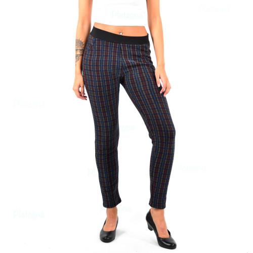 Damen Oversize Business leggings Stoffhose Karomuster mehrfarbig