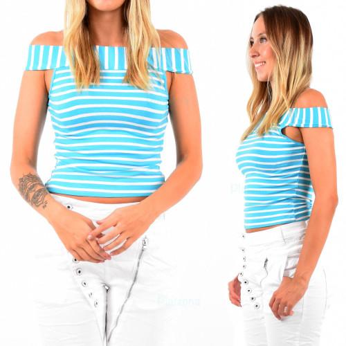 Damen shirt Top Schulterfrei Sommer Streifen Oberteil