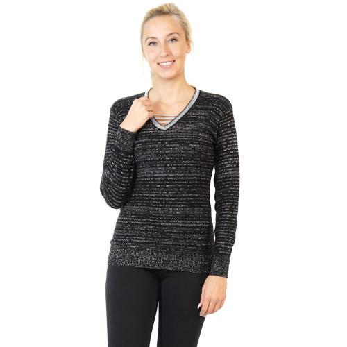 Damen Pullover Gestreift mit Glitzer