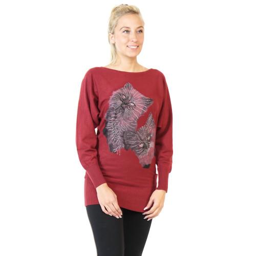 Pullover Kleid rot mit Katzen