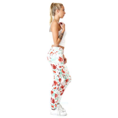 Damen Jeans Frühling Sommer Blumen Rosen Weiß Hose
