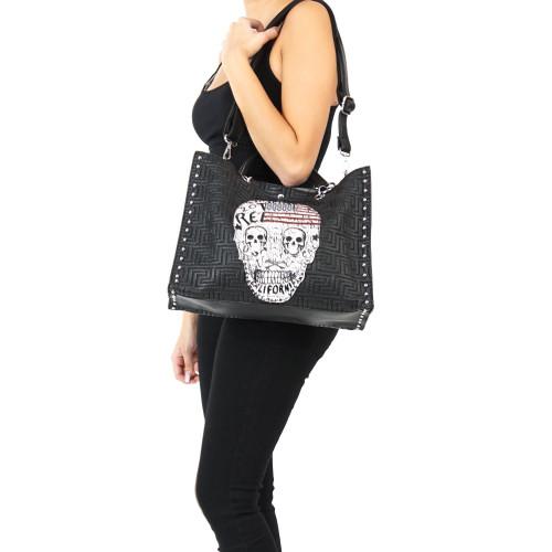 Rockige Totenkopf Handtasche Damen Tasche Gothic Schultertasche Punk Skull Bone