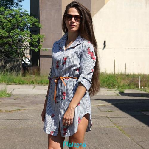 Sommerkleid Strandkleid Hemd Obeteil Gürtel Streifen Blumen aufnäher gestreift Einheitsgröße