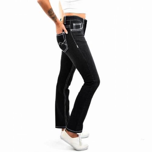 Damen High Waist Jeans Hose Gerades Bein Damenjeans Dicke Naht Stretch Schwarz-Weiß