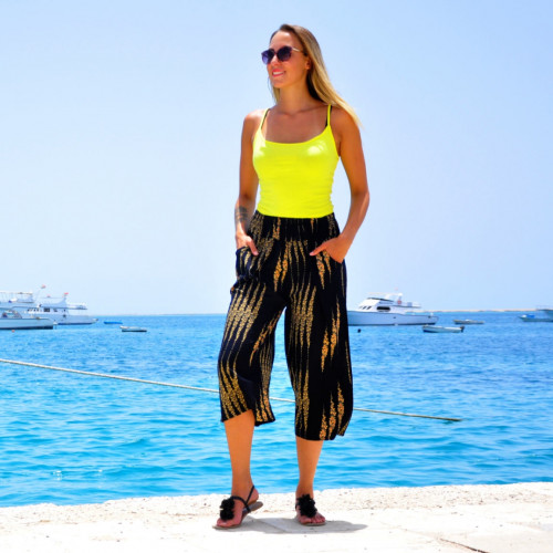 Damen Lose Weites Bein Hose Elastische Taille 3/4 Sommerhose