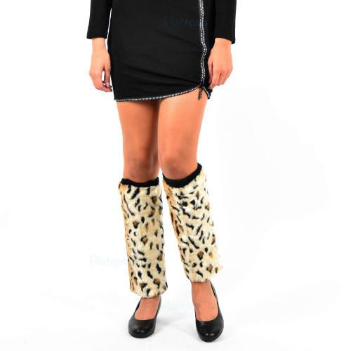 Damen Fellstulpen Beinstulpen Stulpen Kunstfell Fell Pelz leo Leopard Beinwärmer