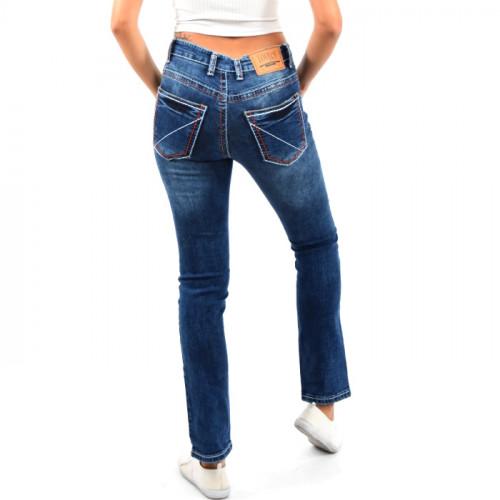 Damen High Waist Jeans Hose Gerades Bein Damenjeans Dicke Naht Stretch Blau-Rot