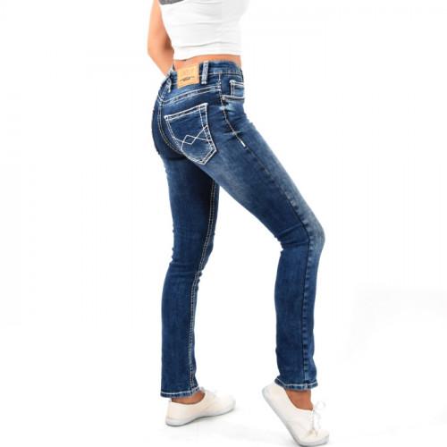 Damen High Waist Jeans Hose Gerades Bein Damenjeans Dicke Naht Stretch Blau-weiß