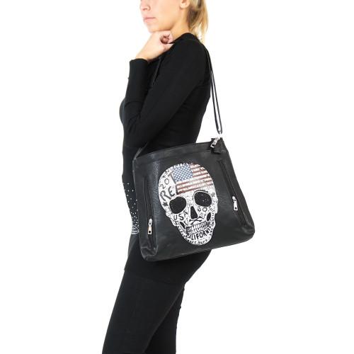 Schlichte Totenkopf Handtasche Damen Tasche Gothic Schultertasche Punk Skull Bone