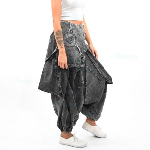 Nepal Harem Pump Hippie Trance Hose Haremshose hose Pumphose baggy unisex Grau jeans