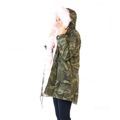 Damen Camouflage JACKE PARKA MILITÄR ÜBERGANGSJACKE Kapuze  ARMY MANTEL in verschiednen Farben