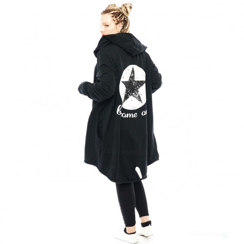 Damen Cardigan Mantel Sweat Jacke Kapuze Vintage Parka Nieten Stern Strass
