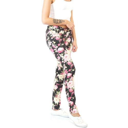 Damen Jeans Frühling Sommer Blumen Hose